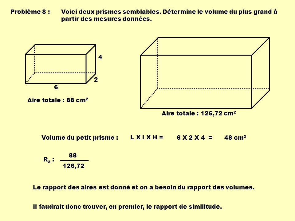 Problème 8 : Voici deux prismes semblables. Détermine le volume du plus grand à partir des mesures données. 6 2 4 Aire totale : 88 cm 2 Aire totale :