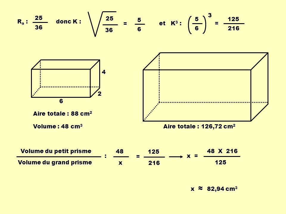 Ra :Ra :Ra :Ra :2536 donc K : 25 36 = 56 et K 3 : 5 6 3= 125216 Volume du petit prisme Volume du grand prisme : =48x 125216 x = 125 48 X 216 x 82,94 c