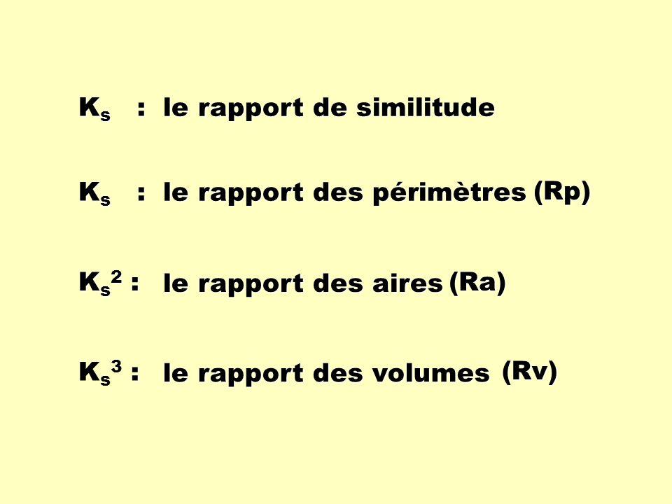 K s : Ks2 :Ks2 :Ks2 :Ks2 : :Ks3 : :Ks3 : le rapport de similitude le rapport des périmètres le rapport des aires le rapport des volumes (Ra) (Rp) (Rv)