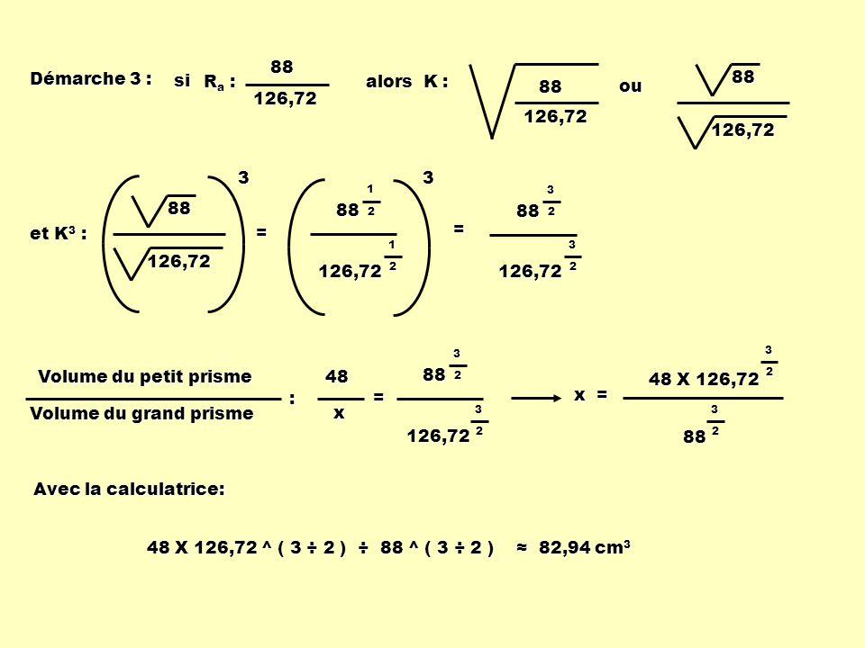 Démarche 3 : alors K : 88 126,72 ou 126,7288 et K 3 : 126,72 883= 8832 3 2 126,72 88 1 2 1 2 126,723= Volume du petit prisme Volume du grand prisme :