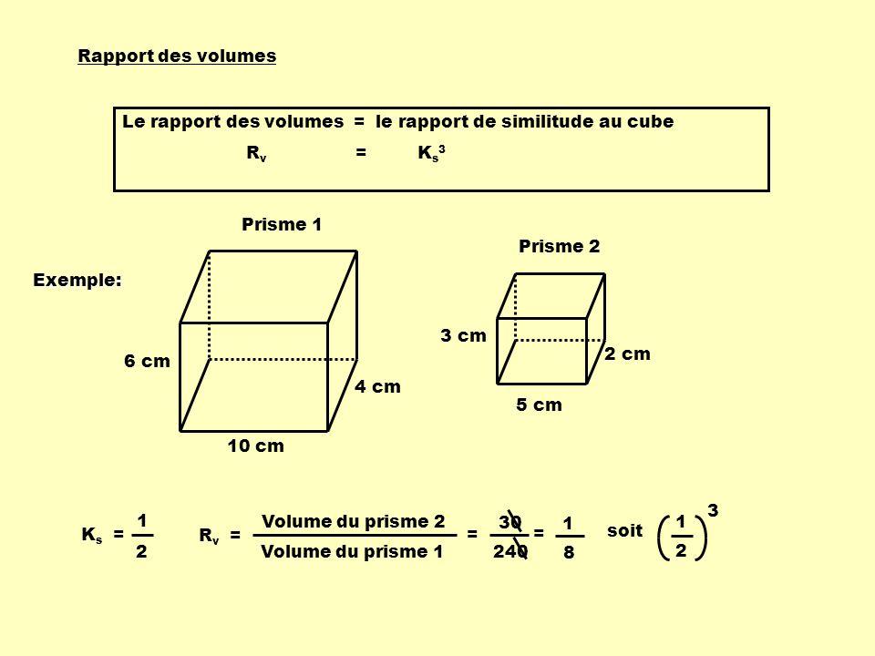 Rapport des volumes Le rapport des volumes = le rapport de similitude au cube R v = K s 3 3 cm 5 cm 2 cm Prisme 2 10 cm 6 cm 4 cm Prisme 1 K s = 1 2 R