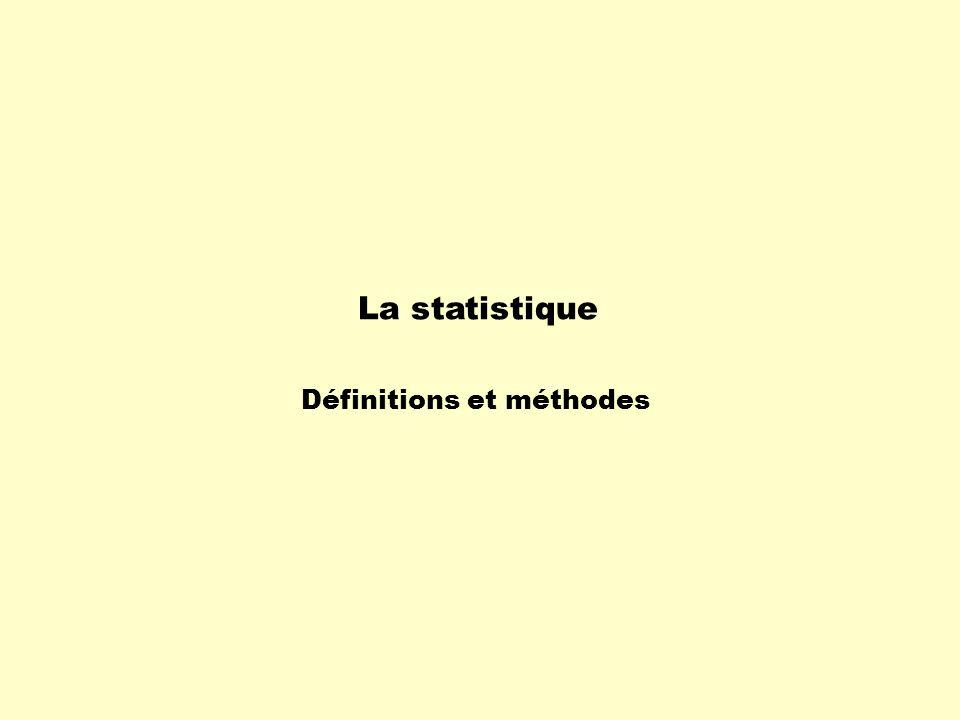 La statistique est la branche des mathématiques qui collecte, classe, analyse et interprète des données afin den tirer des conclusions et de faire des prévisions.