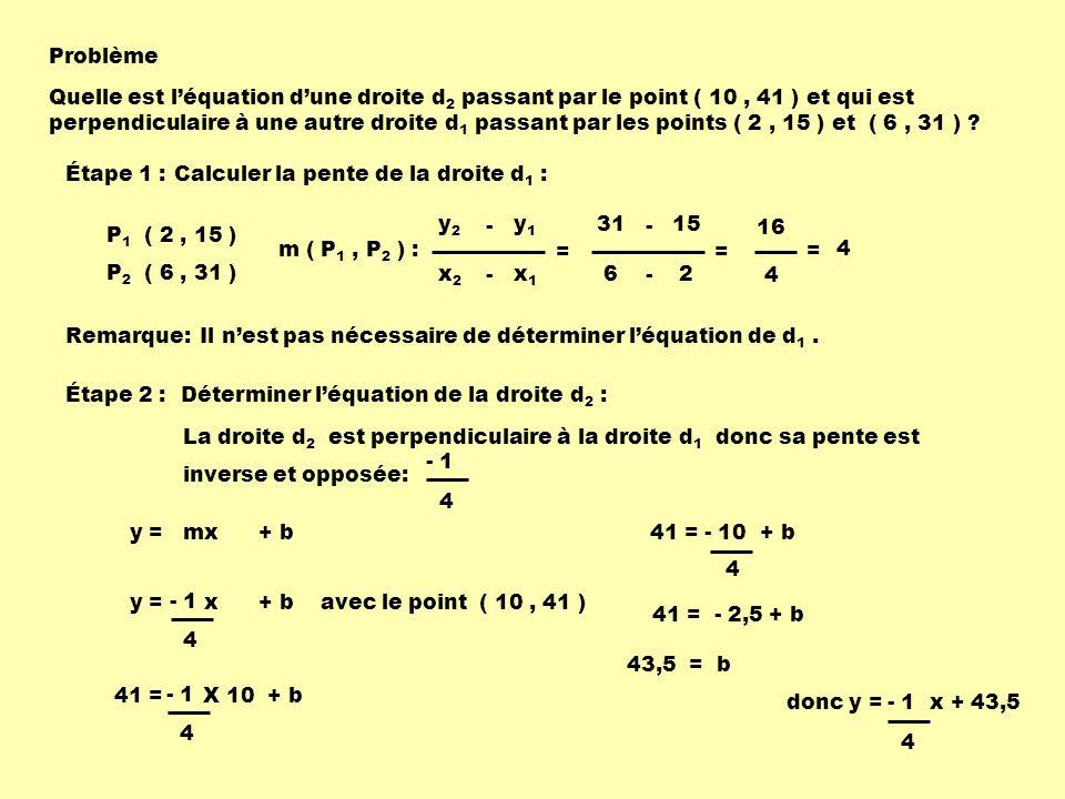 Problème Quelle est léquation dune droite d 2 passant par le point ( 10, 41 ) et qui est perpendiculaire à une autre droite d 1 passant par les points