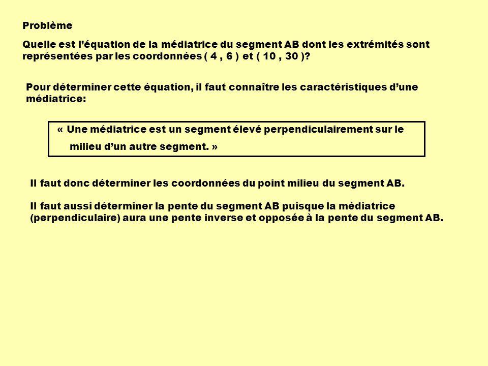 Problème Quelle est léquation de la médiatrice du segment AB dont les extrémités sont représentées par les coordonnées ( 4, 6 ) et ( 10, 30 )? Pour dé