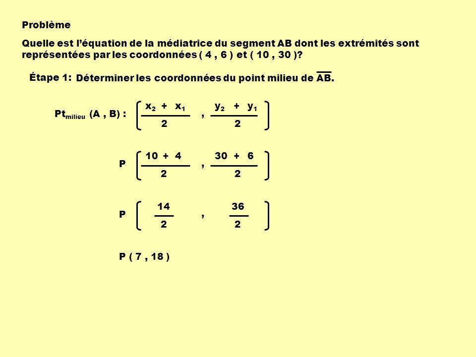 Problème Quelle est léquation de la médiatrice du segment AB dont les extrémités sont représentées par les coordonnées ( 4, 6 ) et ( 10, 30 )? Pt mili