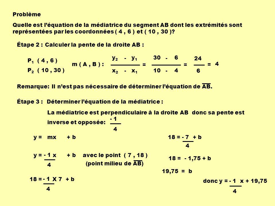 Problème Quelle est léquation de la médiatrice du segment AB dont les extrémités sont représentées par les coordonnées ( 4, 6 ) et ( 10, 30 )? Étape 2