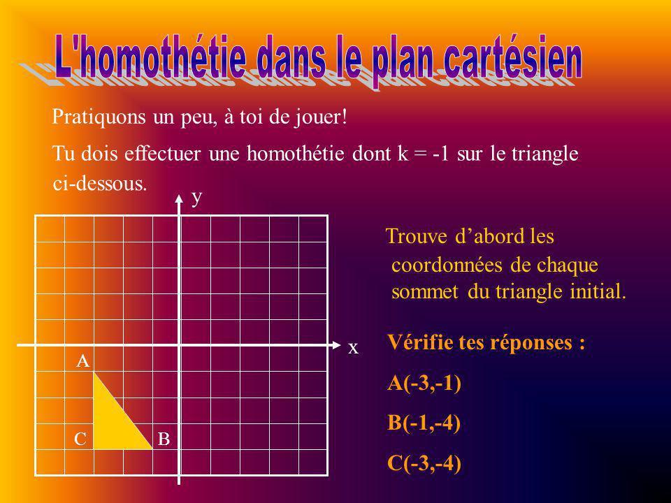 Multiplie maintenant les coordonnées de chaque sommet par le rapport dhomothétie k.