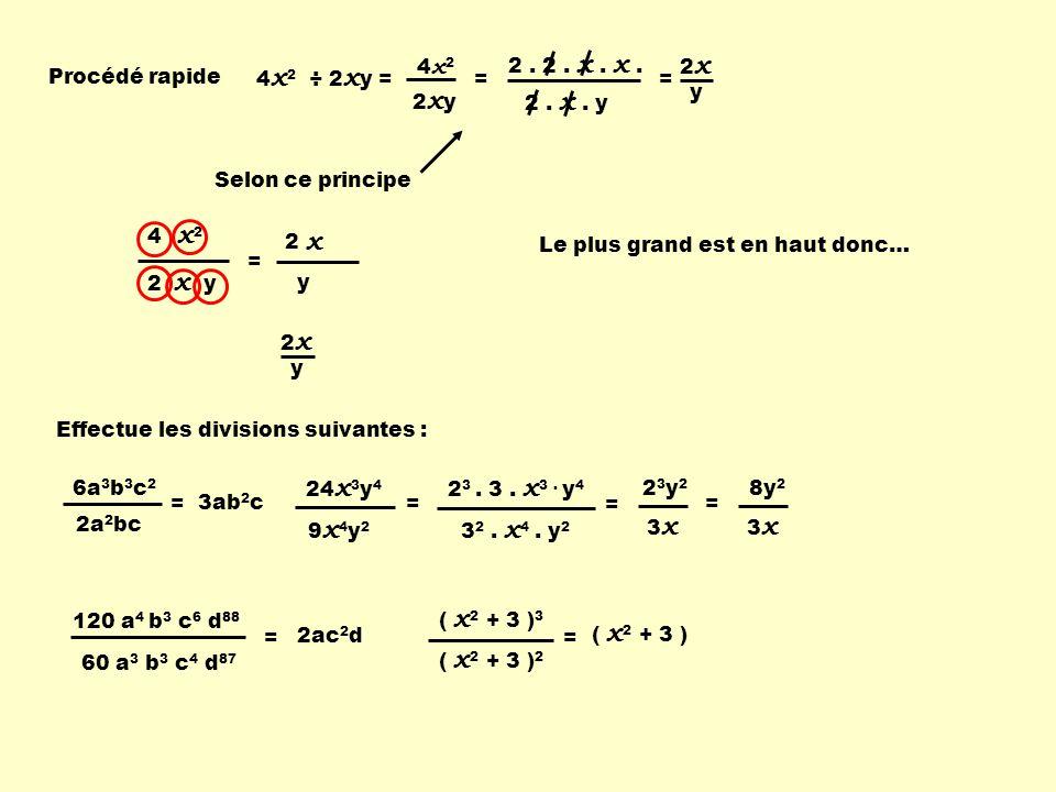 4 x2x2 2 x y Procédé rapide Selon ce principe 2. x. y 2. 2. x. x. 4x24x2 2xy2xy = = 2 x y 4 x 2 ÷ 2 x y = = Le plus grand est en haut donc… 2 x y 2 x
