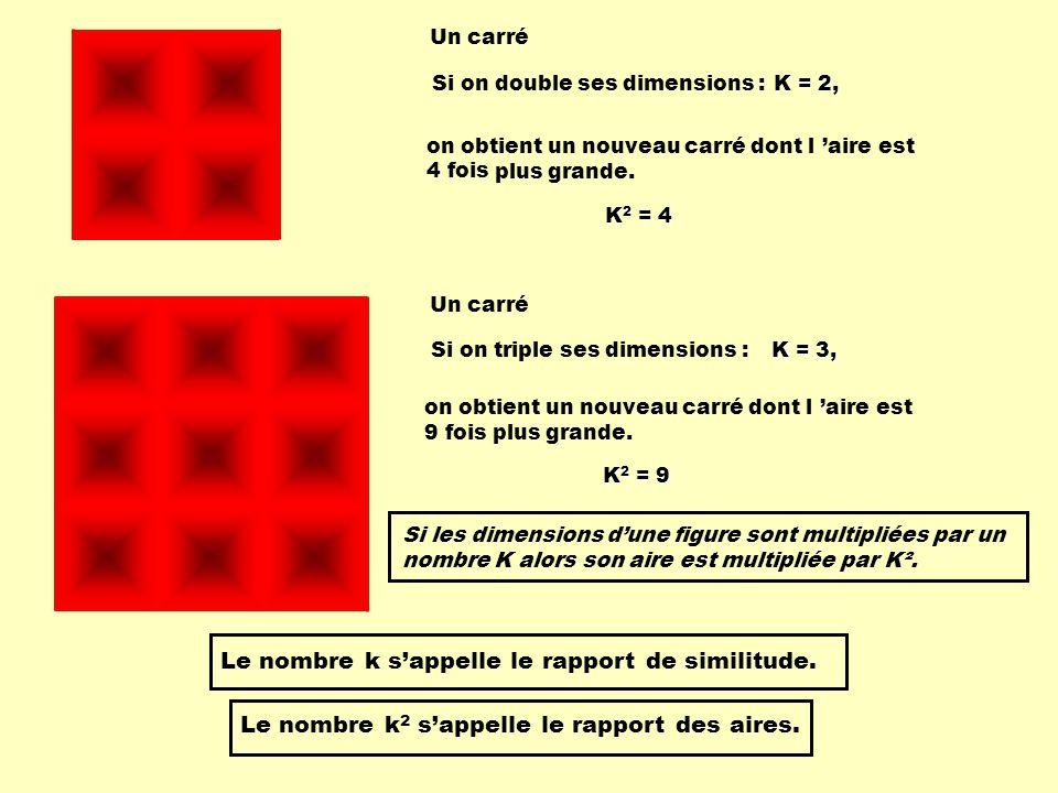 Un carré Si on double ses dimensions : on obtient un nouveau carré dont l aire est plus grande. 4 fois K = 2, K 2 = 4 Si on triple ses dimensions : K