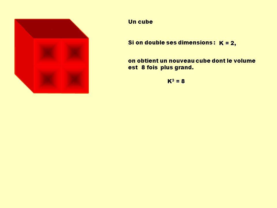 Si on double ses dimensions : on obtient un nouveau cube dont le volume est plus grand. 8 fois Un cube K = 2, K 3 = 8