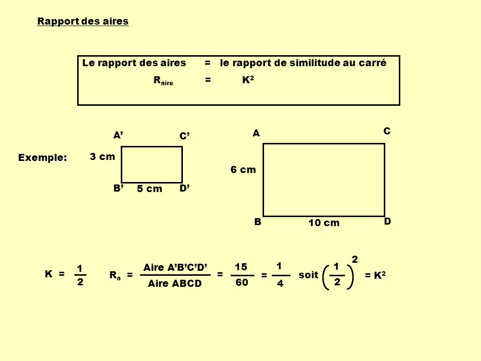 A B C D 3 cm 5 cm A B C D 6 cm 10 cm Rapport des aires Le rapport des aires = le rapport de similitude au carré R aire = K 2 K = 1 2 R a = 15 60 = 1 4
