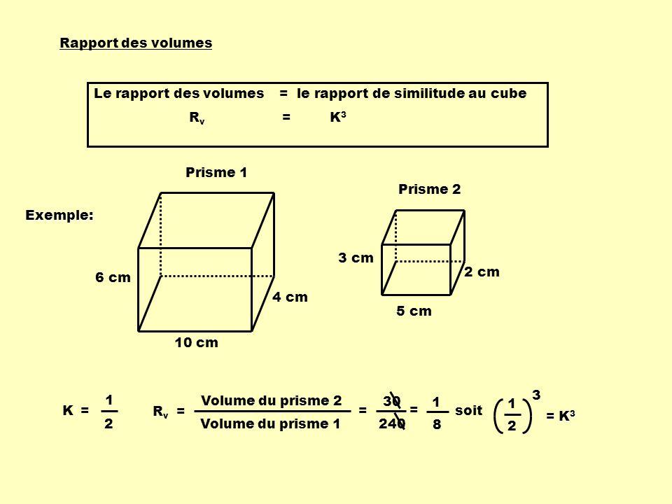 Rapport des volumes Le rapport des volumes = le rapport de similitude au cube R v = K 3 3 cm 5 cm 2 cm Prisme 2 10 cm 6 cm 4 cm Prisme 1 K = 1 2 R v =