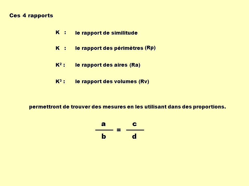 K : le rapport de similitude K2 :K2 :K2 :K2 : le rapport des aires (Ra) K : le rapport des périmètres (Rp) K3 :K3 :K3 :K3 : le rapport des volumes (Rv