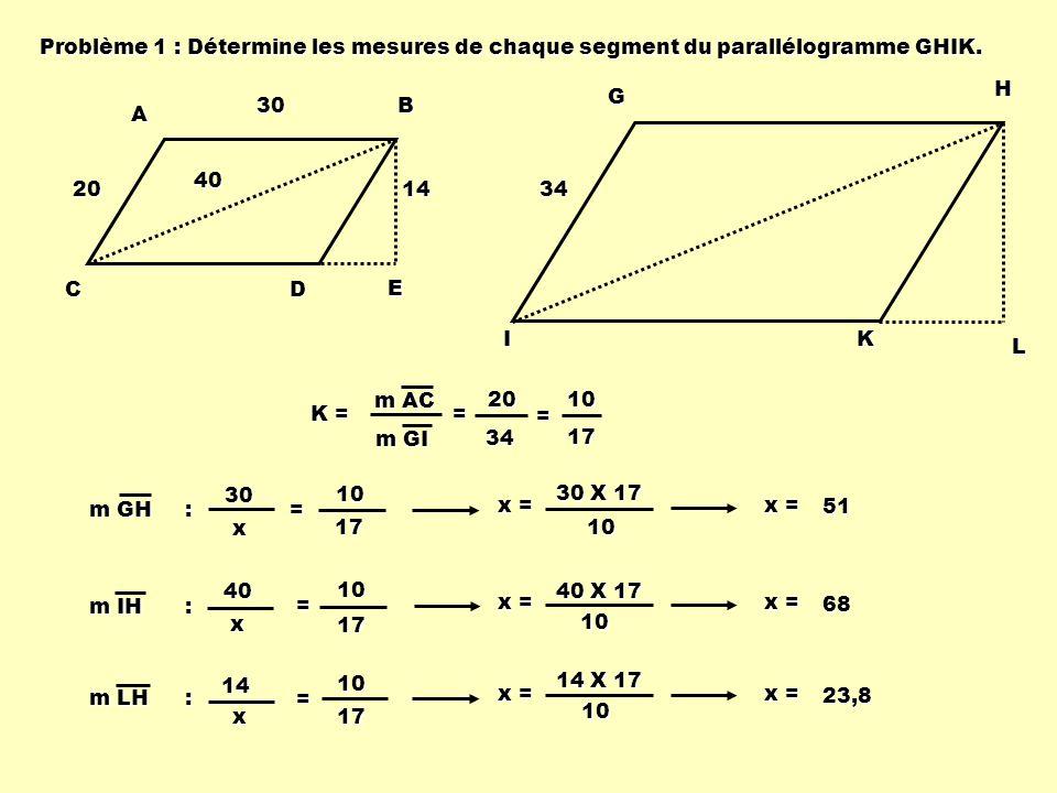 Problème 1 : Détermine les mesures de chaque segment du parallélogramme GHIK. ABCD E 20 403014 GHIK L 34 K = m GI m AC = 2034 = 1017 m GH : =30 x 1017