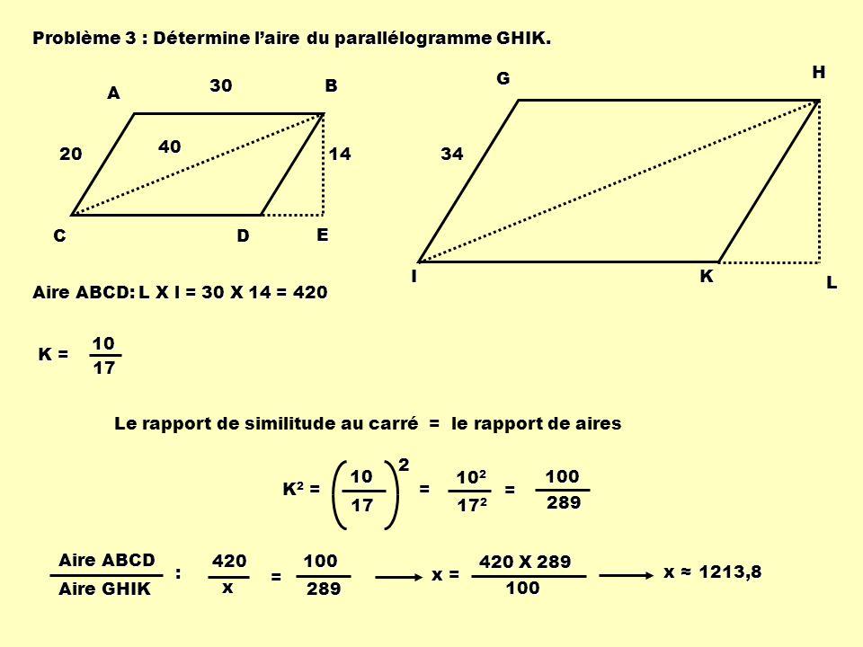 Problème 3 : Détermine laire du parallélogramme GHIK. ABCD E 20 403014 GHIK L 34 K = 1017 Aire ABCD: L X l = 30 X 14 = 420 Le rapport de similitude au
