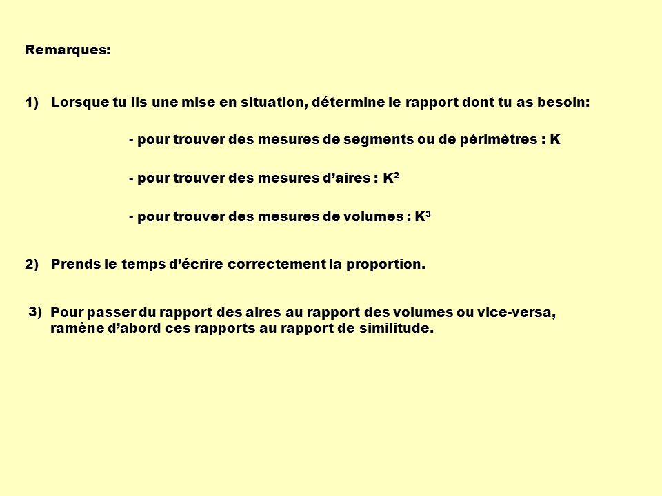 Remarques: 1) Lorsque tu lis une mise en situation, détermine le rapport dont tu as besoin: - pour trouver des mesures de segments ou de périmètres :