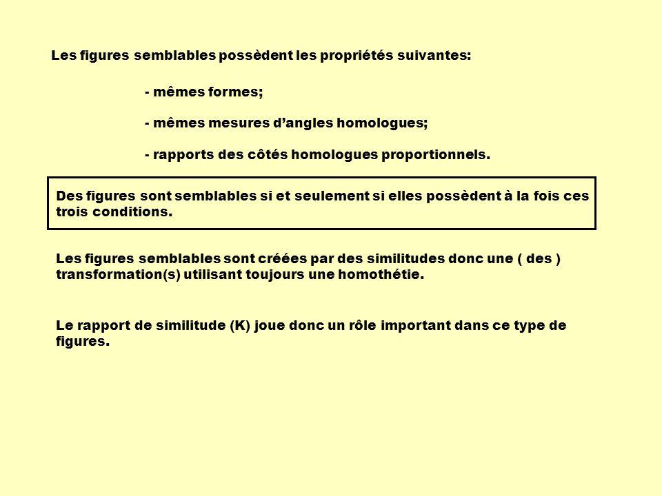 Les figures semblables possèdent les propriétés suivantes: - mêmes formes; - mêmes mesures dangles homologues; - rapports des côtés homologues proport