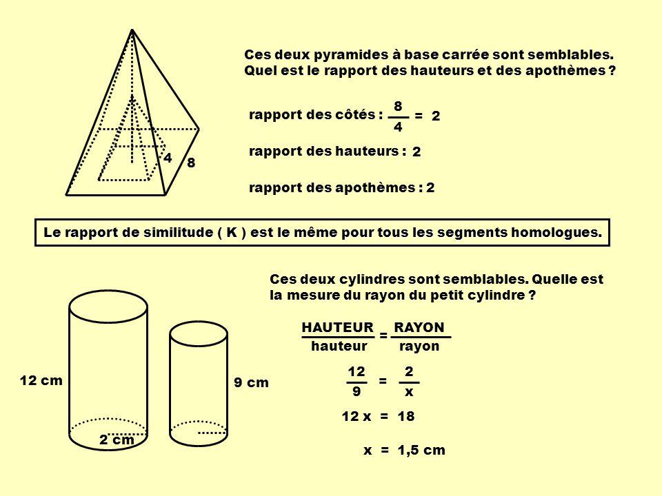 K : K2 :K2 :K2 :K2 : :K3 : :K3 : le rapport de similitude le rapport des périmètres ( R p ) le rapport des aires ( R a ) le rapport des volumes ( R v ) À partir du rapport de similitude, on peut déterminer plusieurs mesures, en créant dautres rapports : Examinons ce quil en est.