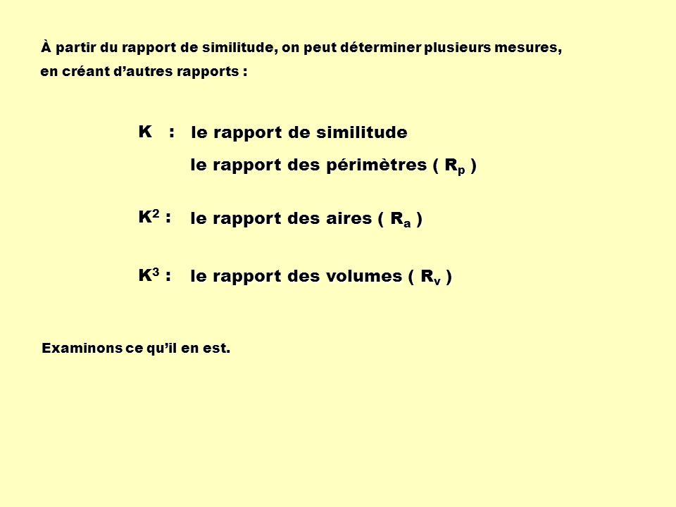 K : K2 :K2 :K2 :K2 : :K3 : :K3 : le rapport de similitude le rapport des périmètres ( R p ) le rapport des aires ( R a ) le rapport des volumes ( R v