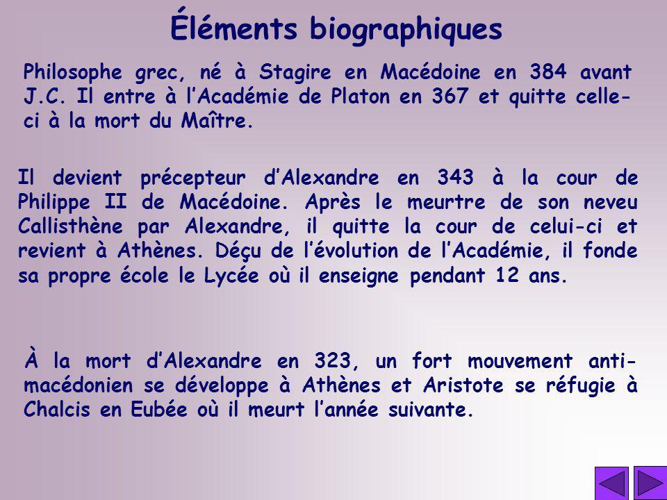 Philosophe grec, né à Stagire en Macédoine en 384 avant J.C. Il entre à lAcadémie de Platon en 367 et quitte celle- ci à la mort du Maître. Il devient