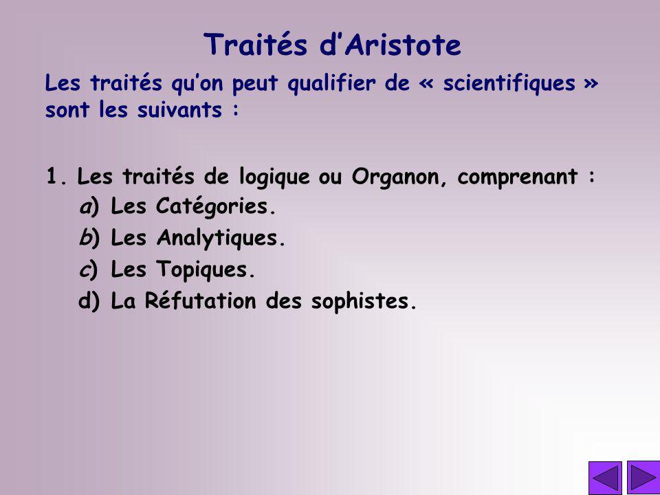 Les traités quon peut qualifier de « scientifiques » sont les suivants : 1. Les traités de logique ou Organon, comprenant : a)Les Catégories. b)Les An