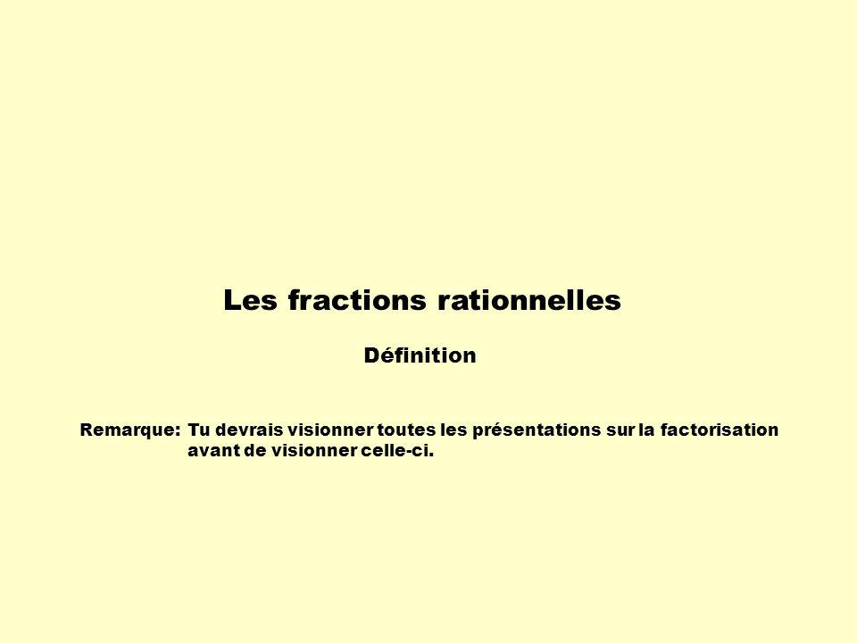 Remarque:Tu devrais visionner toutes les présentations sur la factorisation avant de visionner celle-ci. Les fractions rationnelles Définition