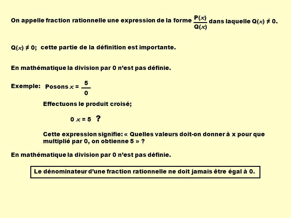Q( x ) 0;cette partie de la définition est importante. En mathématique la division par 0 nest pas définie. Exemple: Posons x = 5 0 Effectuons le produ