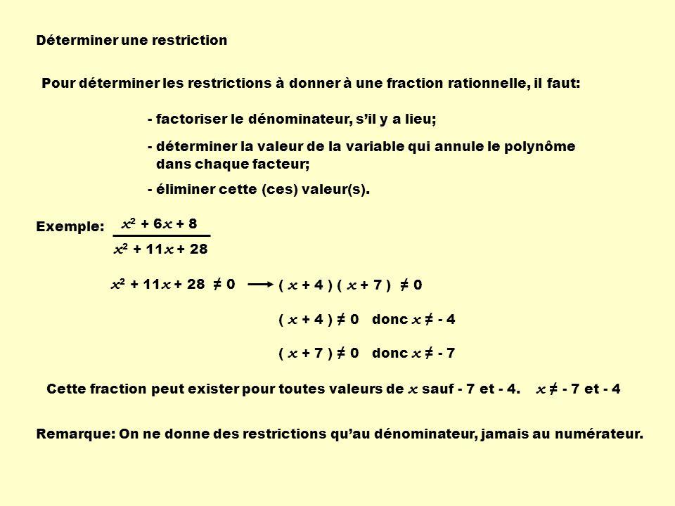 Déterminer une restriction Pour déterminer les restrictions à donner à une fraction rationnelle, il faut: - factoriser le dénominateur, sil y a lieu; - déterminer la valeur de la variable qui annule le polynôme dans chaque facteur; - éliminer cette (ces) valeur(s).