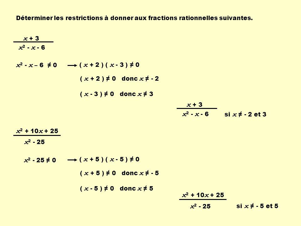 Déterminer les restrictions à donner aux fractions rationnelles suivantes. x + 3 x 2 - x - 6 x 2 - x – 6 0 ( x + 2 ) ( x - 3 ) 0 ( x + 2 ) 0 donc x -