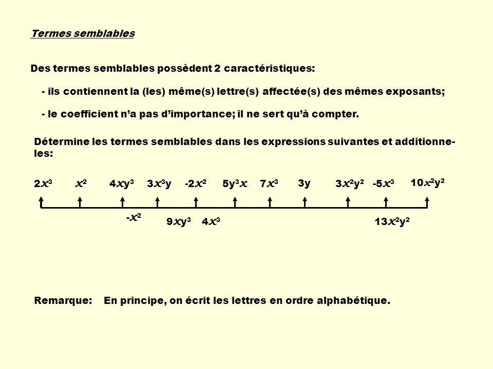 Termes semblables Des termes semblables possèdent 2 caractéristiques: - ils contiennent la (les) même(s) lettre(s) affectée(s) des mêmes exposants; -