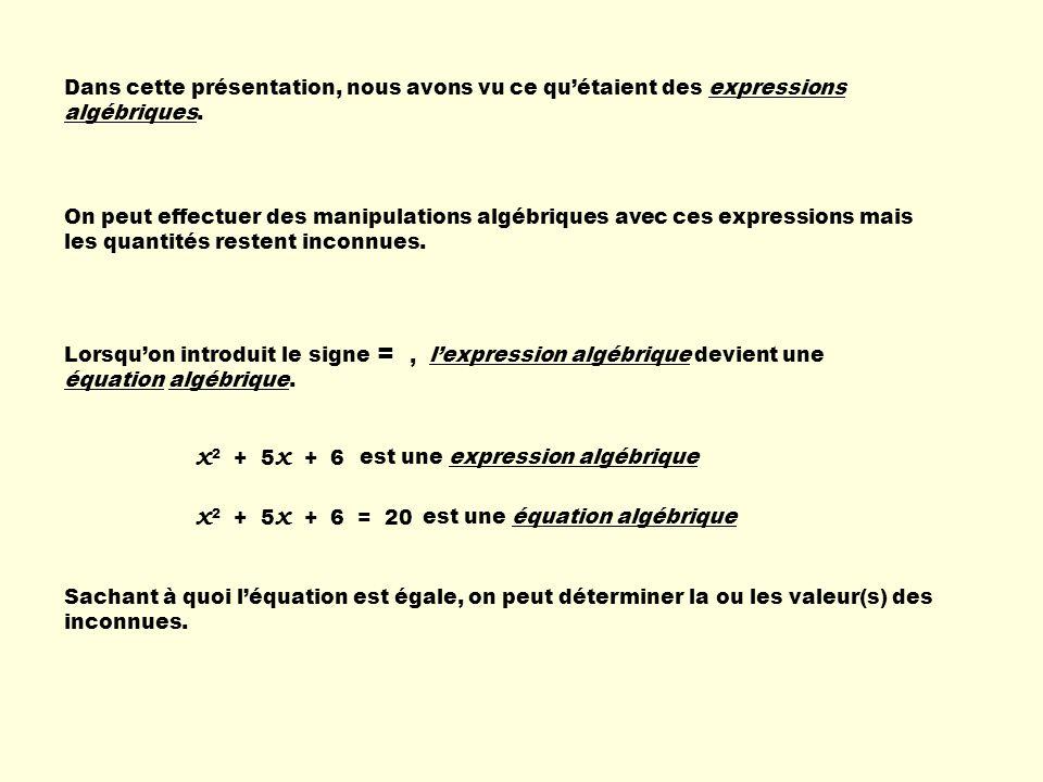 Dans cette présentation, nous avons vu ce quétaient des expressions algébriques. On peut effectuer des manipulations algébriques avec ces expressions