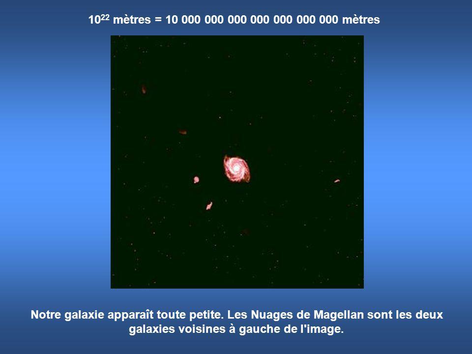 10 22 mètres = 10 000 000 000 000 000 000 000 mètres Notre galaxie apparaît toute petite. Les Nuages de Magellan sont les deux galaxies voisines à gau