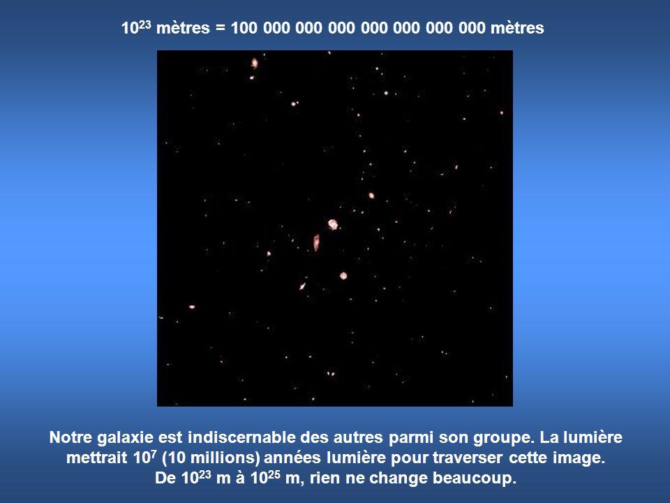 10 23 mètres = 100 000 000 000 000 000 000 000 mètres Notre galaxie est indiscernable des autres parmi son groupe. La lumière mettrait 10 7 (10 millio