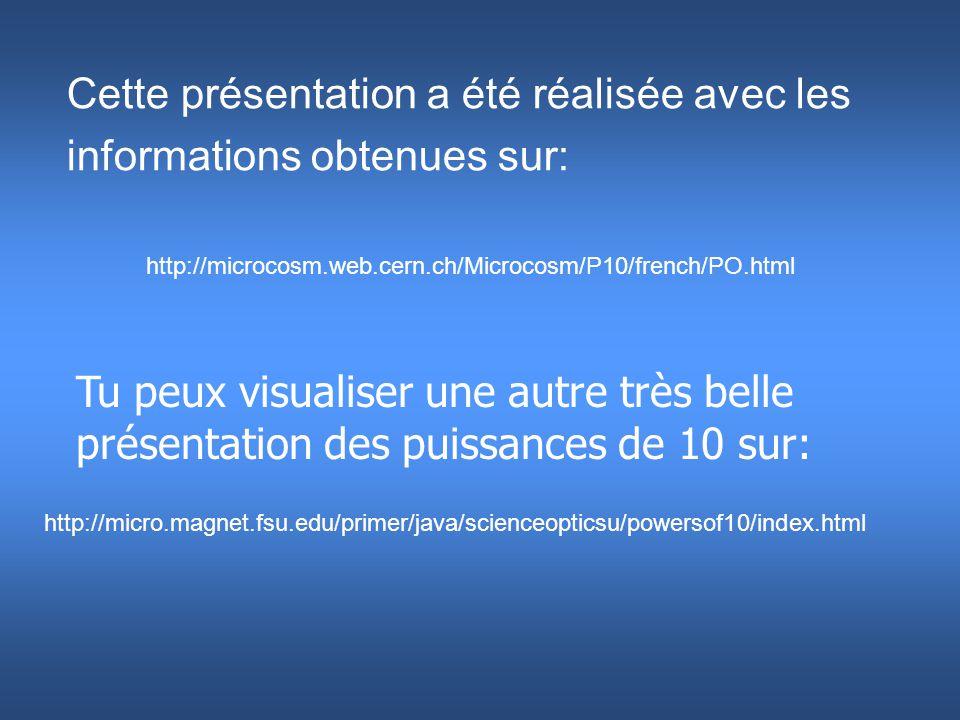 Cette présentation a été réalisée avec les informations obtenues sur: Tu peux visualiser une autre très belle présentation des puissances de 10 sur: h