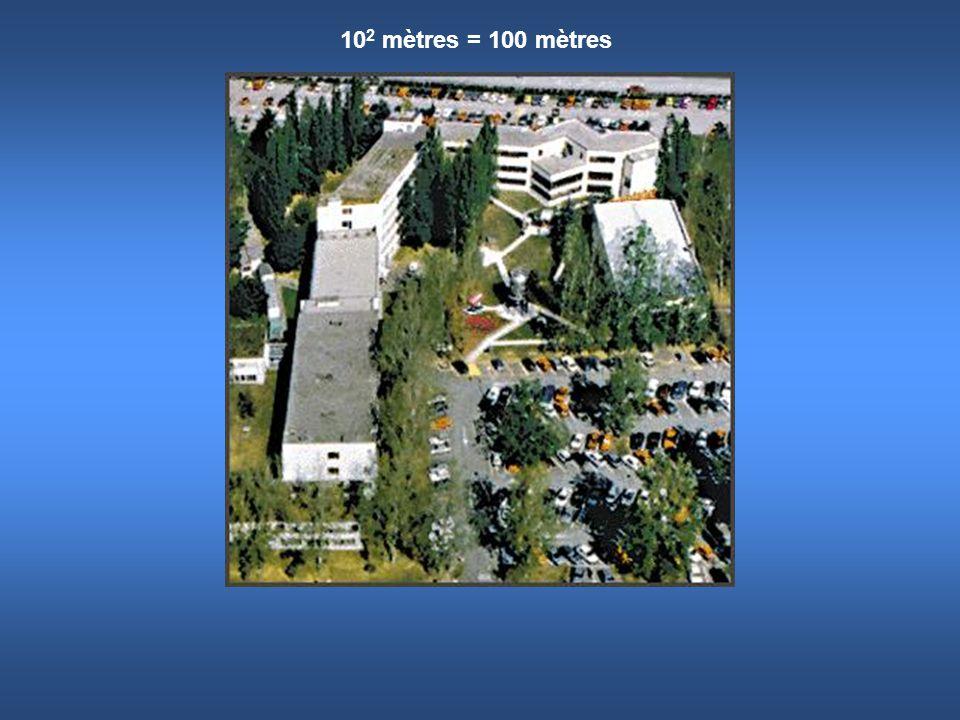 10 2 mètres = 100 mètres