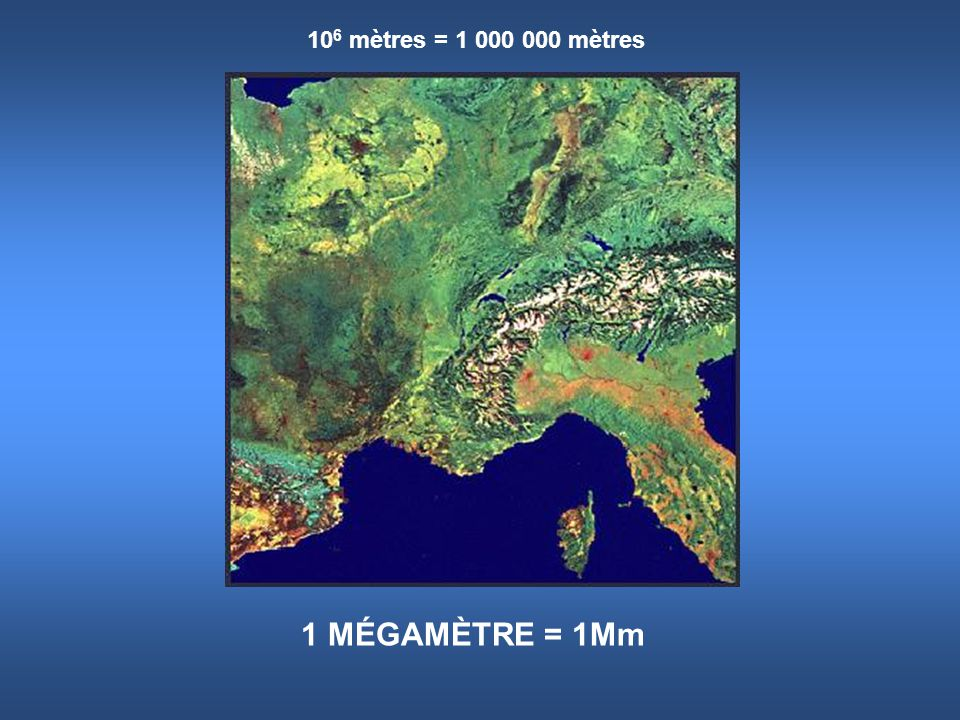 10 6 mètres = 1 000 000 mètres 1 MÉGAMÈTRE = 1Mm