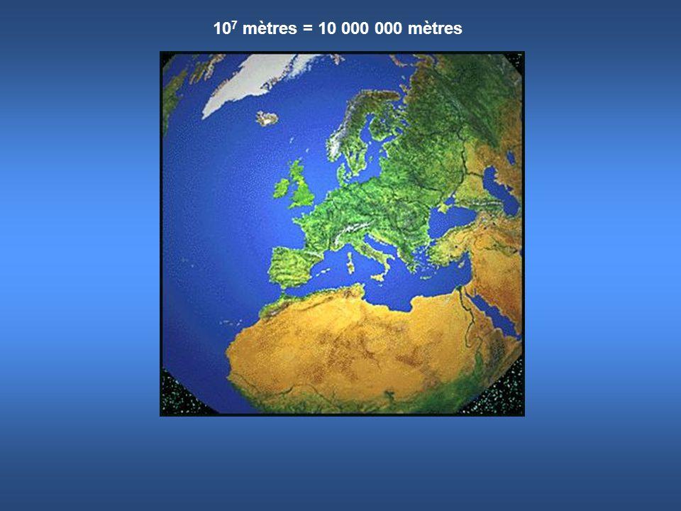 10 7 mètres = 10 000 000 mètres