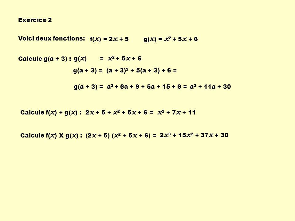 Exercice 2 Voici deux fonctions: f( x ) = 2 x + 5g( x ) = x 2 + 5 x + 6 Calcule g(a + 3) : g( x ) = x 2 + 5 x + 6 g(a + 3) = (a + 3) 2 + 5(a + 3) + 6