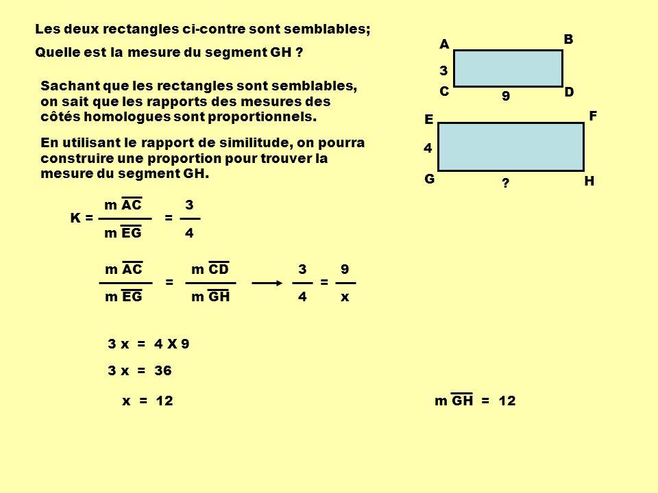 Les deux rectangles ci-contre sont semblables; Quelle est la mesure du segment CD .