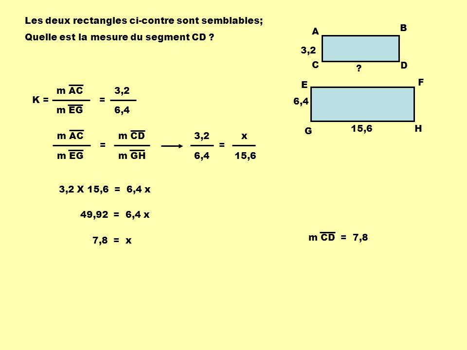 AB CD EF 3 cm 12 cm Les rectangles ABCD et CDEF suivants sont semblables.