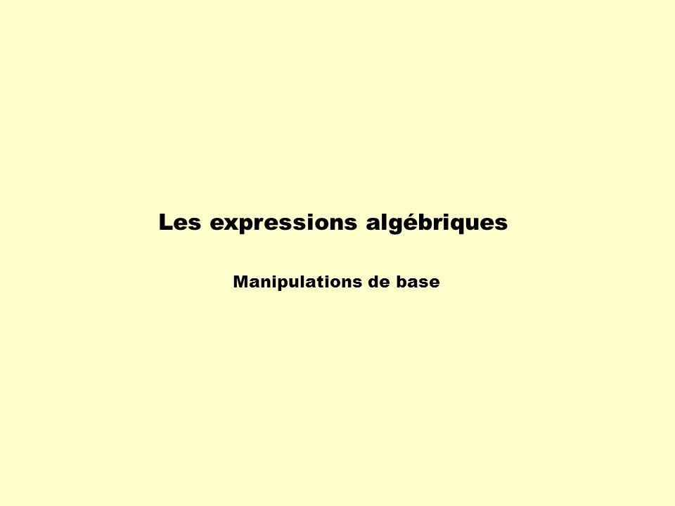 Les expressions algébriques Manipulations de base