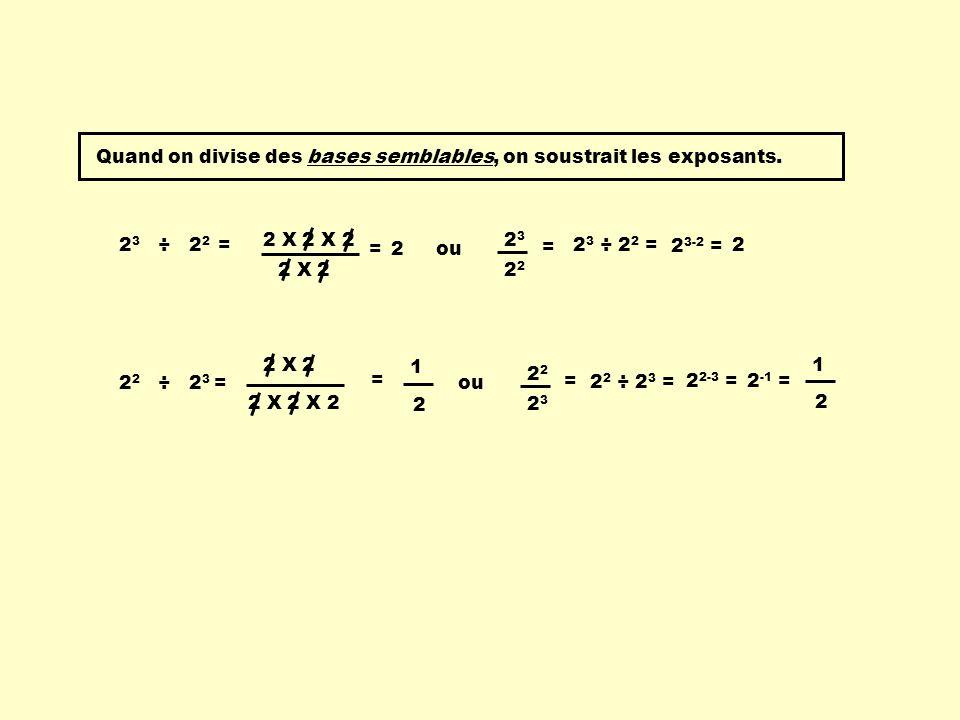 Quand on divise des bases semblables, on soustrait les exposants. 2 3 ÷ 2 2 = 2 X 2 X 2 2 X 2 =2 23232 = 2 3-2 = ou 2 2 2 ÷ 2 3 = 2 X 2 X 2 2 X 2 = 2