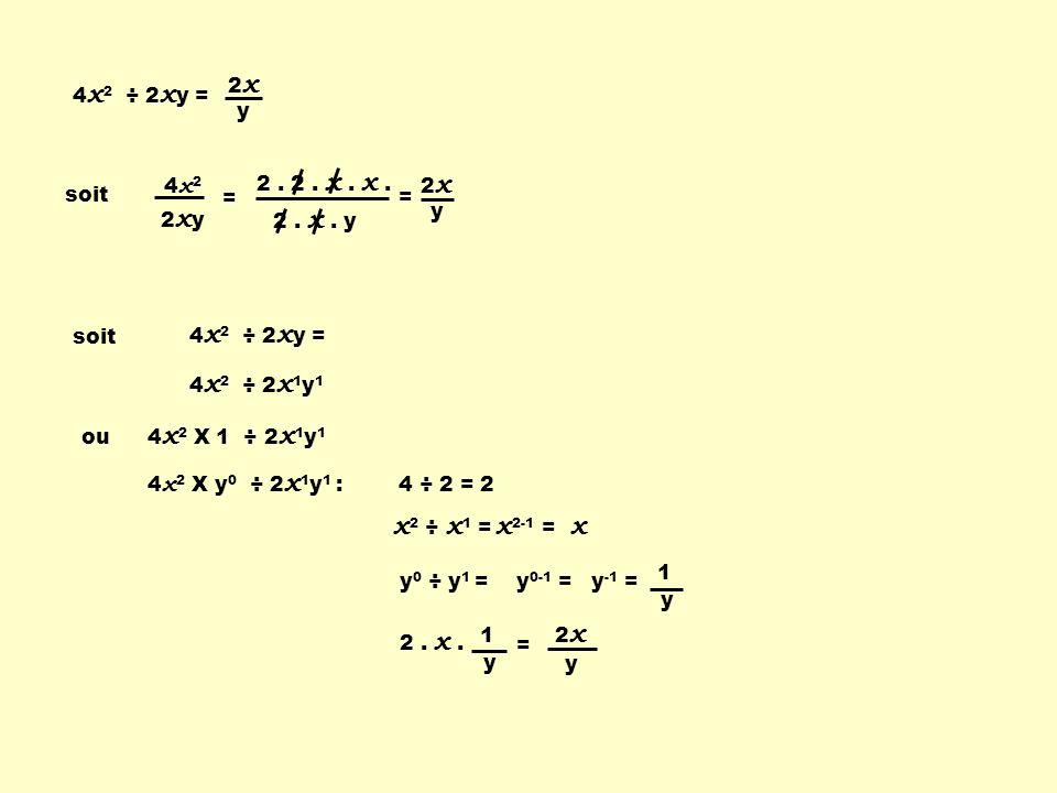 2. x. y 2. 2. x. x. 4 x 2 ÷ 2 x y = soit 4x24x2 2xy2xy = = 2 x y soit 4 x 2 ÷ 2 x 1 y 1 ou 4 x 2 X 1 ÷ 2 x 1 y 1 4 x 2 X y 0 ÷ 2 x 1 y 1 : 4 ÷ 2 = 2 x