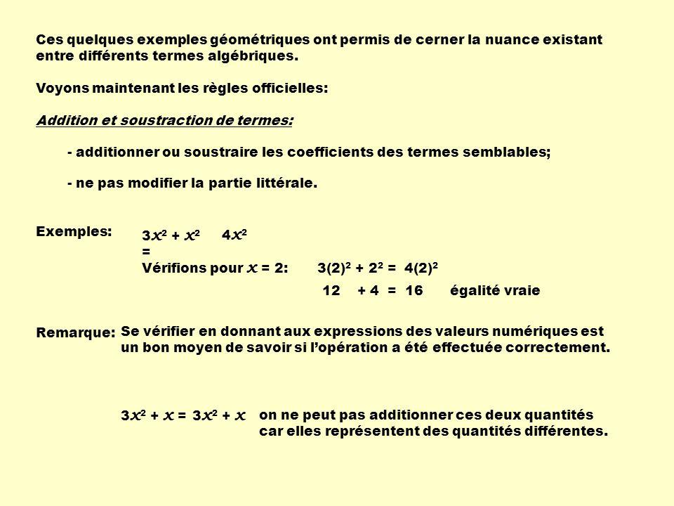 2 x 2 + 3y + x 2 + 4y + 5 =3 x 2 + 7y + 5 Pour x = 2 et y = 3 2(2) 2 + 3X3 + 2 2 + 4X3 + 5 = 3(2) 2 + 7X3 + 5 8 + 9 + 4 + 12 + 5 = 12 + 21 + 5 38 = 38 x 2 + 3 x + 2 x + 6 = x 2 + 5 x + 6 x 2 – 5y + 3 x 2 + 3y = 4 x 2 – 2y 3a 2 + 5b + ( - a 2 + 2b ) =2a 2 + 7b Un + en avant dune parenthèse ne modifie pas les signes des termes à lintérieur si on enlève les parenthèses.