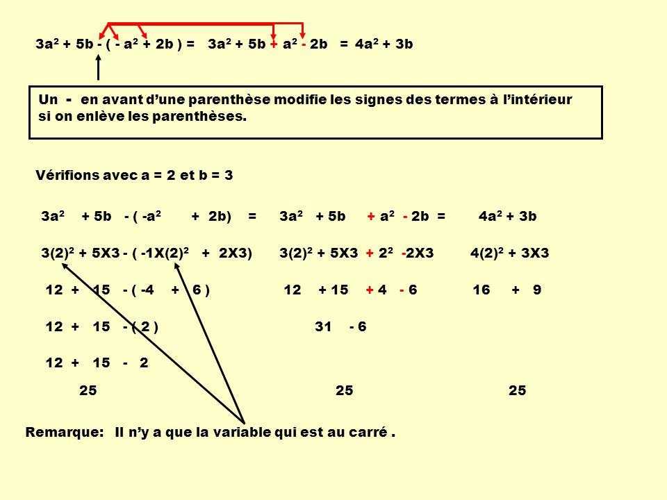 3a 2 + 5b - ( - a 2 + 2b ) =3a 2 + 5b + a 2 - 2b =4a 2 + 3b Un - en avant dune parenthèse modifie les signes des termes à lintérieur si on enlève les