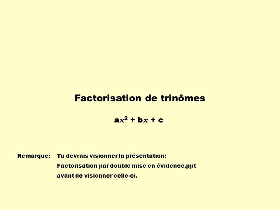 Factorisation de trinômes Remarque:Tu devrais visionner la présentation: Factorisation par double mise en évidence.ppt avant de visionner celle-ci.
