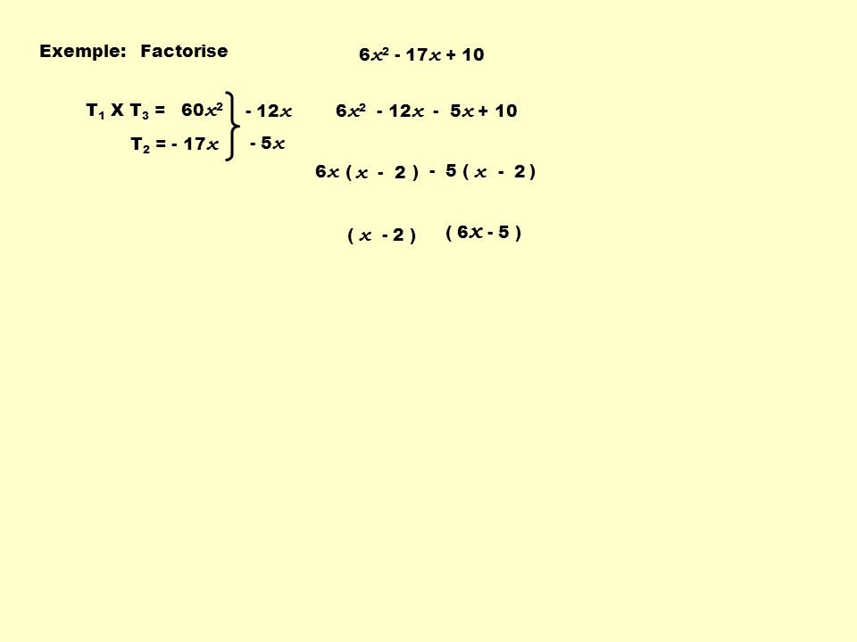 - 5 ( ) Exemple:Factorise 6 x 2 - 17 x + 10 T 1 X T 3 = 60 x 2 T 2 = - 17 x - 12 x - 5 x 6 x 2 - 12 x - 5 x + 10 6 x ( ) x - 2 ( 6 x - 5 ) ( x - 2 )