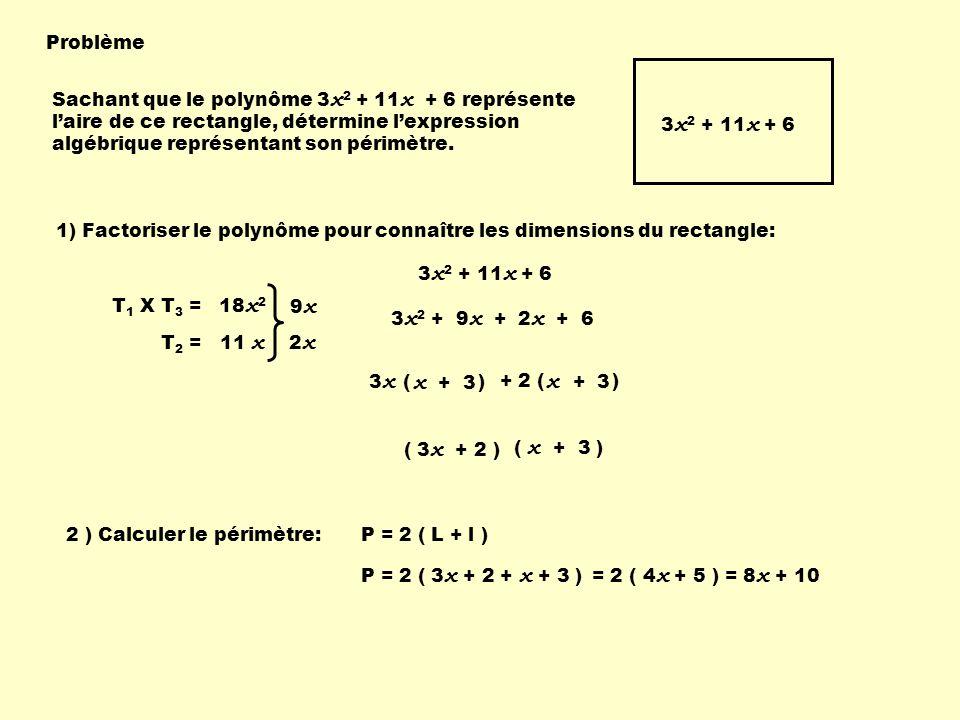 Problème 3 x 2 + 11 x + 6 Sachant que le polynôme 3 x 2 + 11 x + 6 représente laire de ce rectangle, détermine lexpression algébrique représentant son périmètre.