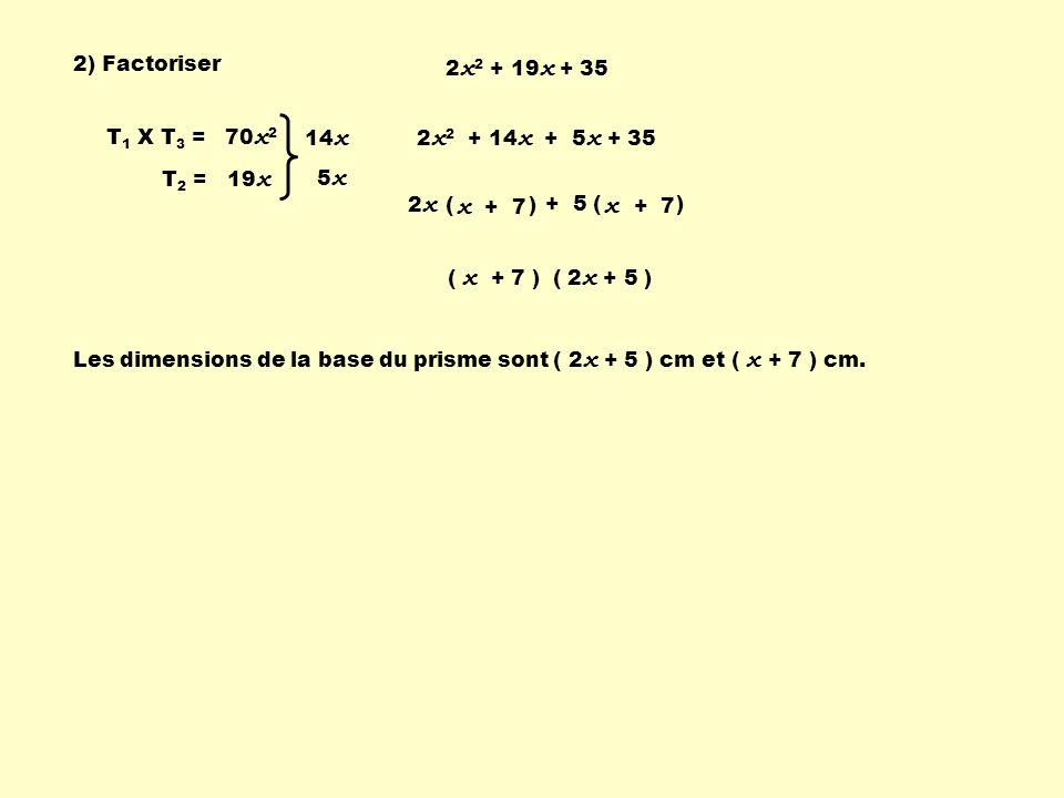 + 5 ( ) 2) Factoriser 2 x 2 + 19 x + 35 T 1 X T 3 = 70 x 2 T 2 = 19 x 14 x 5 x 2 x 2 + 14 x + 5 x + 35 2 x ( ) x + 7 ( 2 x + 5 )( x + 7 ) Les dimensions de la base du prisme sont ( 2 x + 5 ) cm et ( x + 7 ) cm.