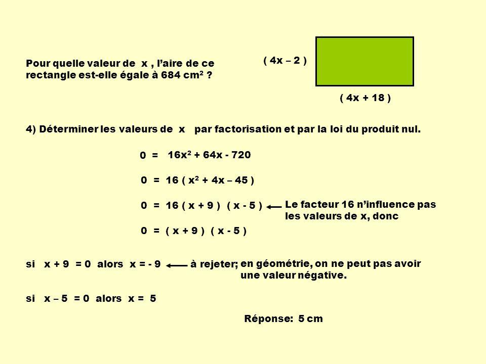 4) Déterminer les valeurs de x par factorisation et par la loi du produit nul.